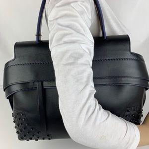 New Tod's Wave Black Italian Leather Satchel